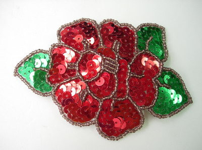 FW157 Red Rose Peony Flower Sequin Bead Applique Motif