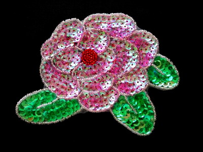 FW175 Big Crystal Pink Peony Flower Sequins Beaded Applique