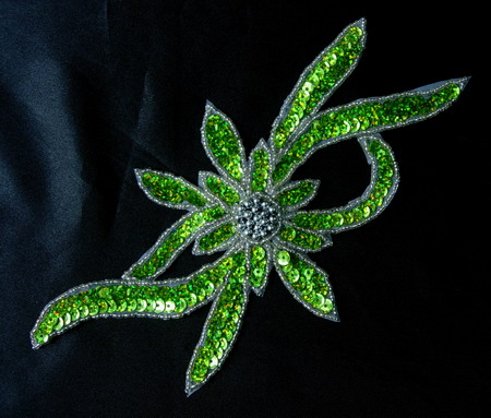 FW189-4 Handmade Flower Hologram Sequin Beaded Applique Lime