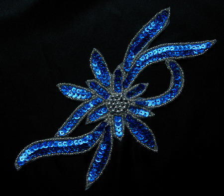 FW189-6 Handmade Flower Sequin Beaded Applique Royal Blue