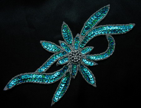 FW189-7 Handmade Flower Hologram Sequin Beaded Applique Aqua
