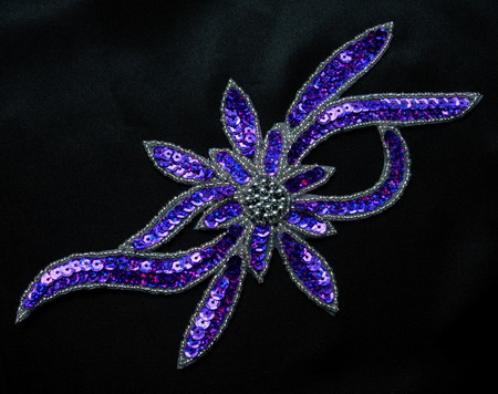 FW189-8 Handmade Flower Hologram Sequin Beaded Applique Purple