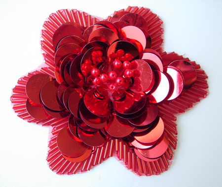 FW202 Sequined Beaded Applique Jewelry Paillette Tier Flower Red
