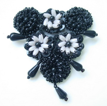 FW214 Flower Dangle Beaded Sequined Applique Motif Black