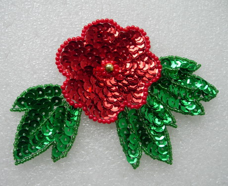 FW225 Red Flower Green Leaves Leaf Sequin Bead Applique Motif