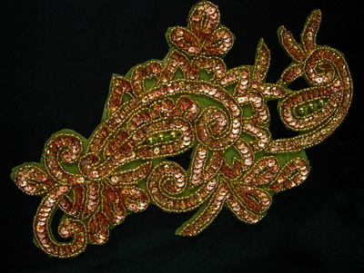FW230 Large Paisley Floral Sequin Beaded Applique Brass Gold
