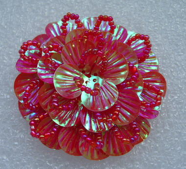 FW239 Round Tier Flowers Shell Sequin Beaded Applique Red