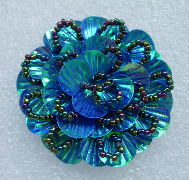 FW242 Round Tier Flowers Shell Sequin Beaded Applique Blue AB