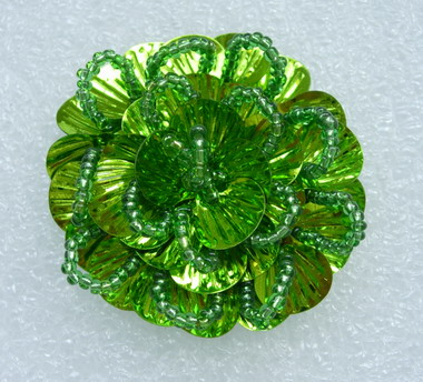 FW243 Round Tier Flowers Shell Sequin Beaded Applique Lime