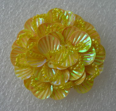 FW245 Round Tier Flowers Shell Sequin Beaded Applique Yellow