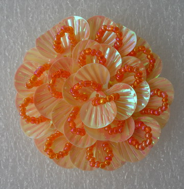 FW246 Round Tier Flowers Shell Sequin Beaded Applique Orange