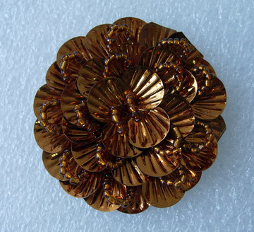 FW249-3 Round Tier Flowers Shell Sequin Beaded Applique Brown