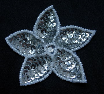 FW251 Silver Petals Star Flower Sequin Bead Applique 10pcs