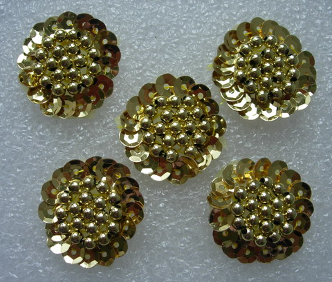 FW260 Flower Sequin Beaded Applique Sew On Motif Gold 5pcs