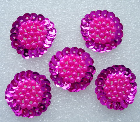 FW262 Jewelry Flower Sequin Beaded Applique Sew On Fuchsia 5pcs