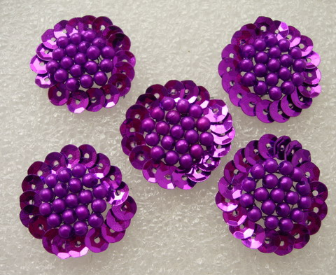 FW263 Jewelry Flower Sequin Beaded Applique Sew On Purple 5pcs