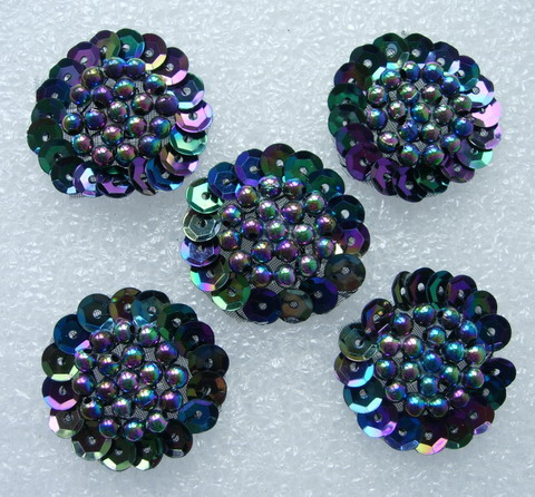 FW265 Jewelry Flower Sequin Beaded Applique Sew On BlK Iris 5pcs