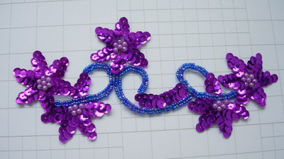 FW271 Purple Floral Flower Sequin Beaded Applique Motif