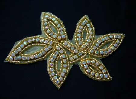 FW280 Floral Leaf AB Rhinestone Diamante Beaded Applique Motif