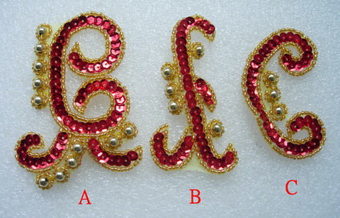 FW284 Assorted 3pcs Sequin Beaded Applique Motif Red Gold