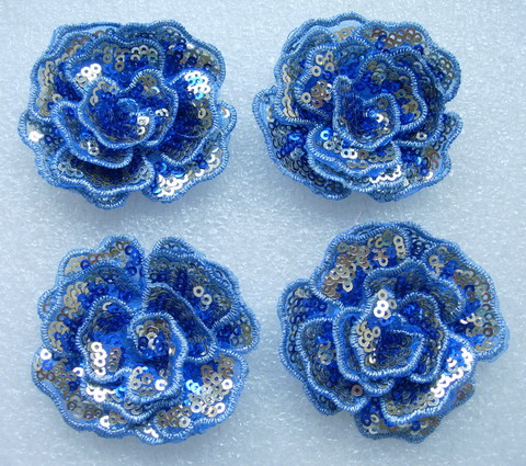 FW289 Layered 3D Flower Rose Sequined Applique Motif Blue 4pc