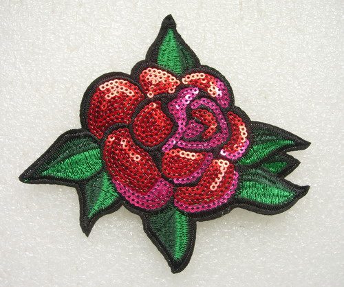 FW290 Colorful Rose Flower Embroidered Sequin Applique Motif