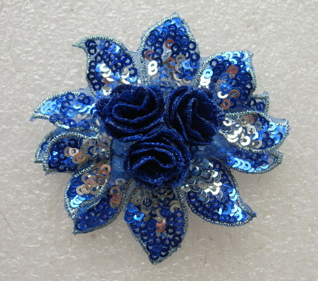 FW292 3D Petal Flower Sequined Applique Motif Blue 4pc
