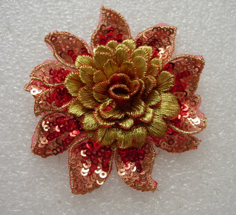 FW295 3D Tier Flower Peony Sequined Applique Motif Red Gold 4pc