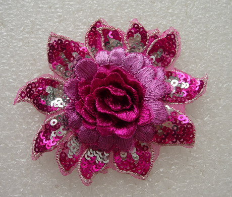 FW296 3D Tier Flower Peony Sequined Applique Motif Fuchsia 4pc