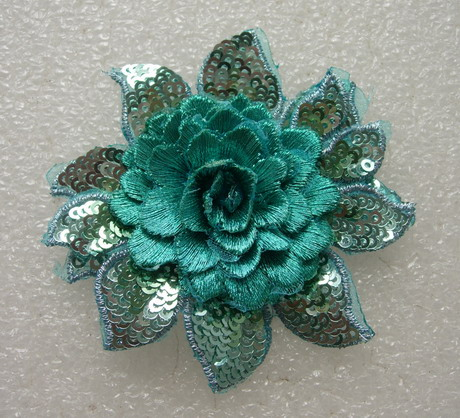 FW298 3D Tier Flower Peony Sequined Applique Motif Teal 4pc