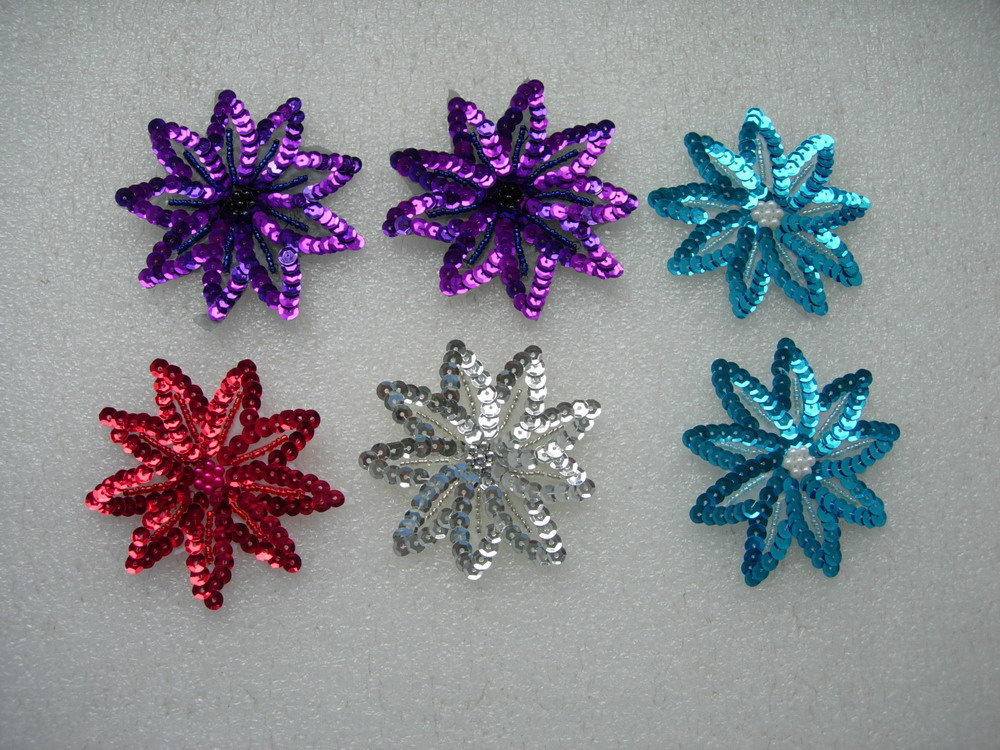 FW30-4 Petals Flower Sequined Beaded Applique Assorted 6pcs