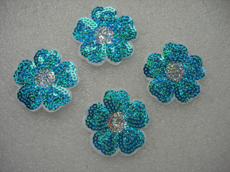 FW305 Hologram Aqua Petal Flower Sequin Applique Patch x4