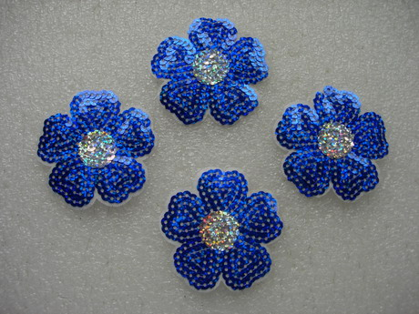 FW306 Hologram Royal Blue Petal Flower Sequin Applique Patch x4