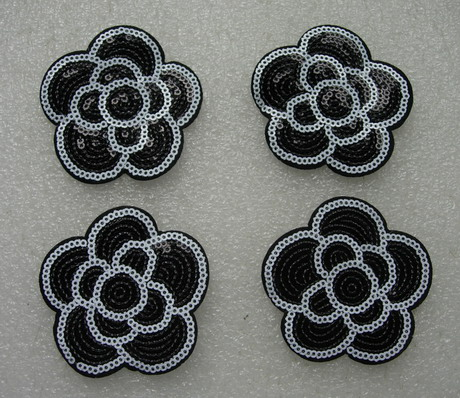 FW308 Black Rose Flower Sequin Applique Patch Iron On x4
