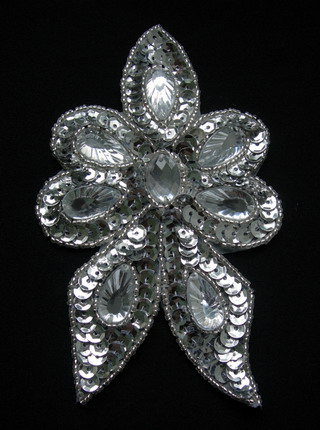 FW310 Silver Gemstones Flower Sequined Beaded Applique
