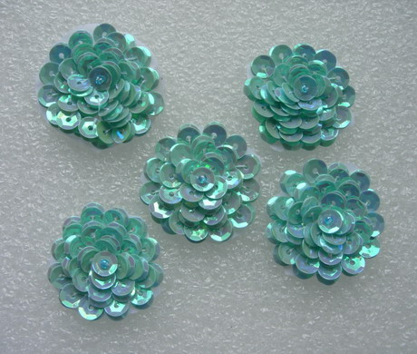 "FW320 Layered 1 3/8"" Flowers Sequined Beaded Applique Blue 5pcs - Click Image to Close"