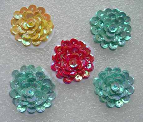 "FW323 Layered 1 3/8"" Flowers Sequined Beaded Applique Assorted 5"