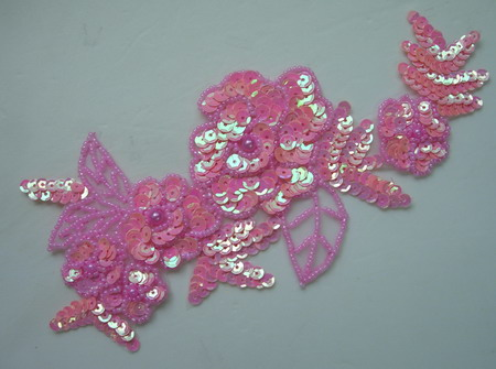 FW54-2 Sequin Bead Applique Pink Floral