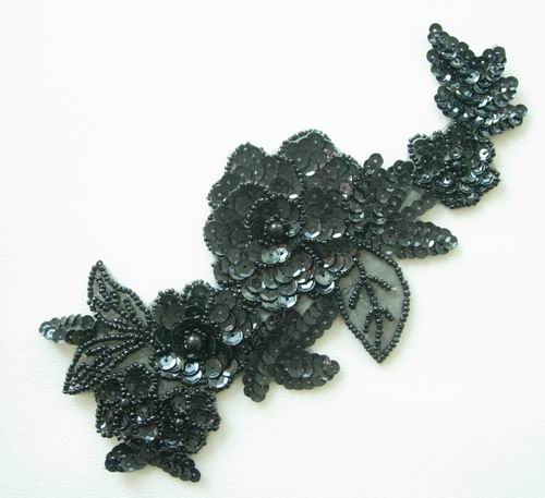FW53 Sequin Bead Applique Black Floral