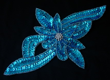 FW70-2 Leaf Flower Sequin Bead Applique Motif Aqua