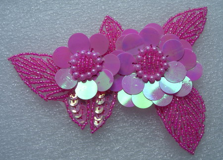 FW72 Twin Layer Flower Sequin Bead Applique Motif Deep Pink Iris