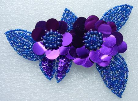 FW72-4 Twin Layer Flower Sequin Bead Applique Motif Purple