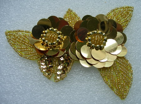 FW72-6 Twin Layer Flower Paillettes Sequin Bead Applique Gold