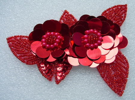 FW72-7 Twin Layer Flower Paillettes Sequin Bead Applique Red
