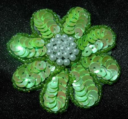 FW07 Petal Flower Sequin Bead Applique Apple Green 5pcs