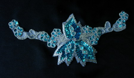 FW89-9 Gorgeous Floral Sequin Bead Bugle Applique Aqua Silver