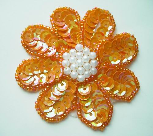 FW08 Petal Flower Sequin Bead Applique Orange 5pcs