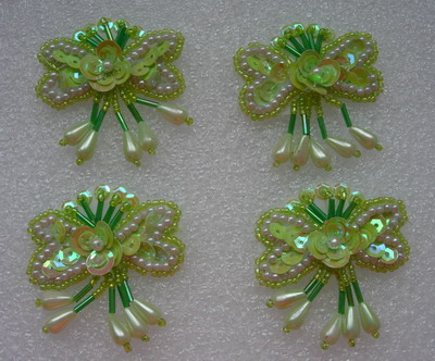 FW93-2 Tear Drop Flower Sequin Bead Bugle Applique Green Iris 10