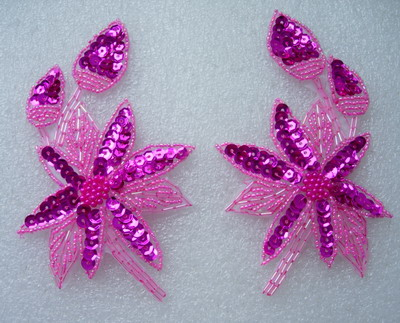 LR163 Mirror Pair Fuchsia Leaf Flowers Sequin Beaded Applique