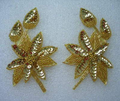 LR165 Mirror Gold Leaf Flower Sequin Beaded Applique